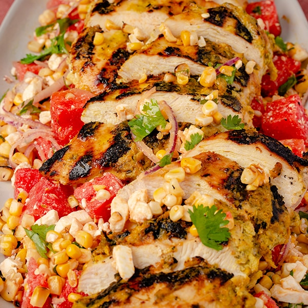 grilled marinated chicken breast with summer watermelon salad