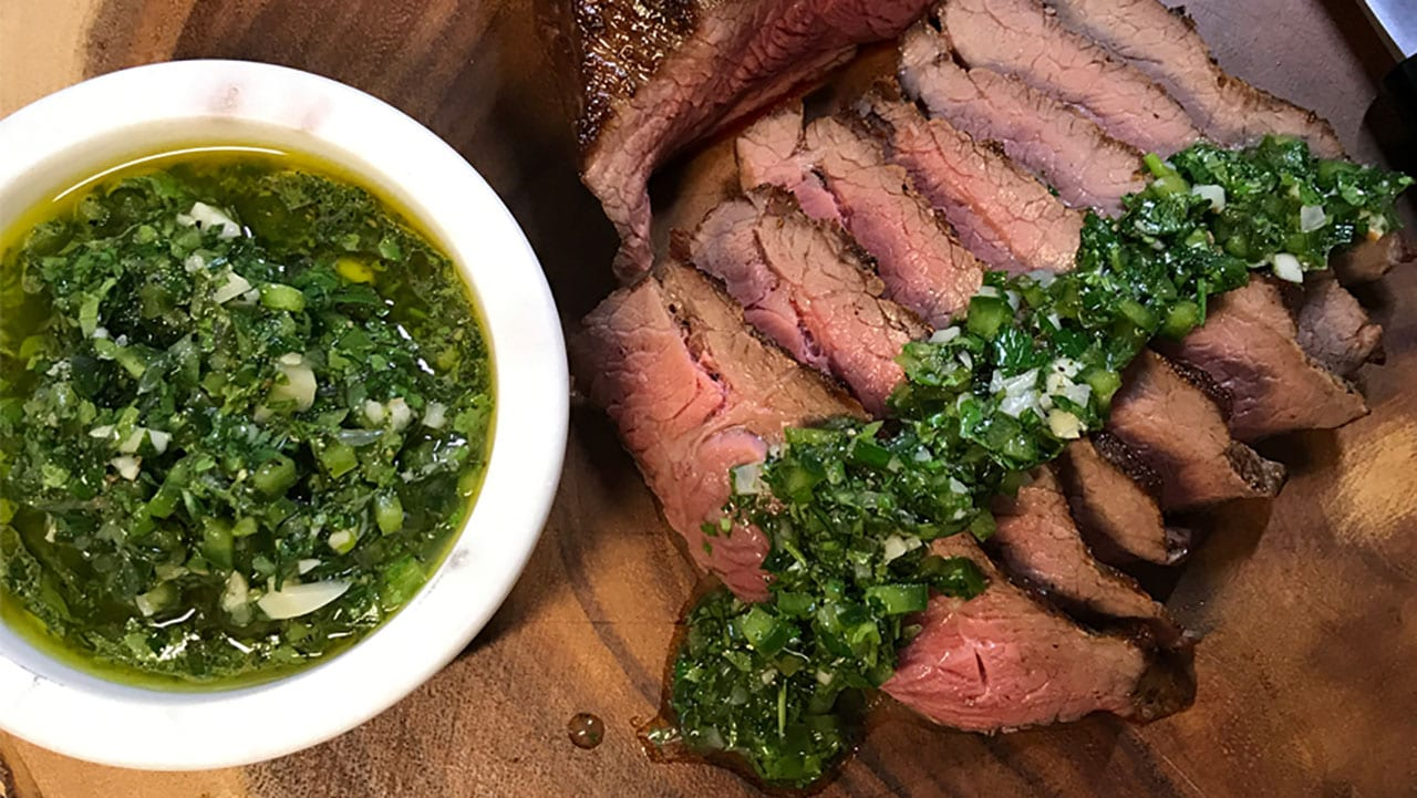 chimichurri sauce and steak