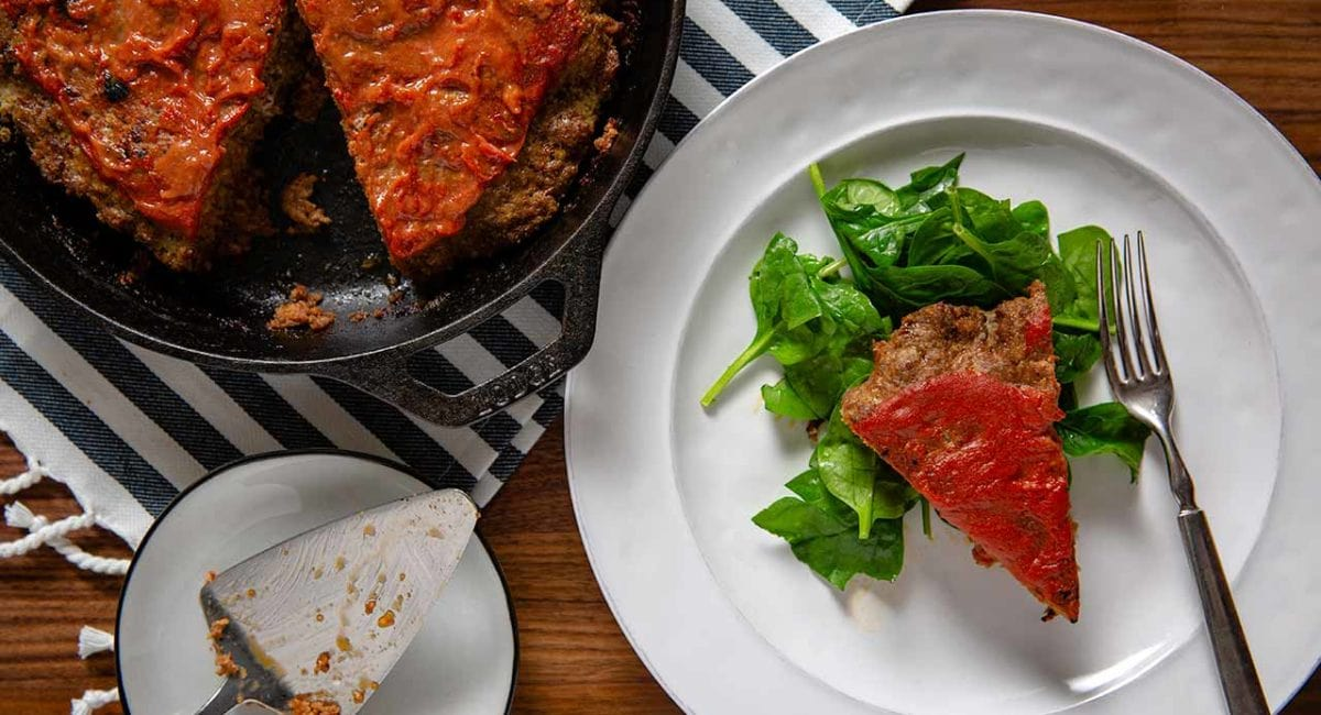 meatloaf in a cast iron pan