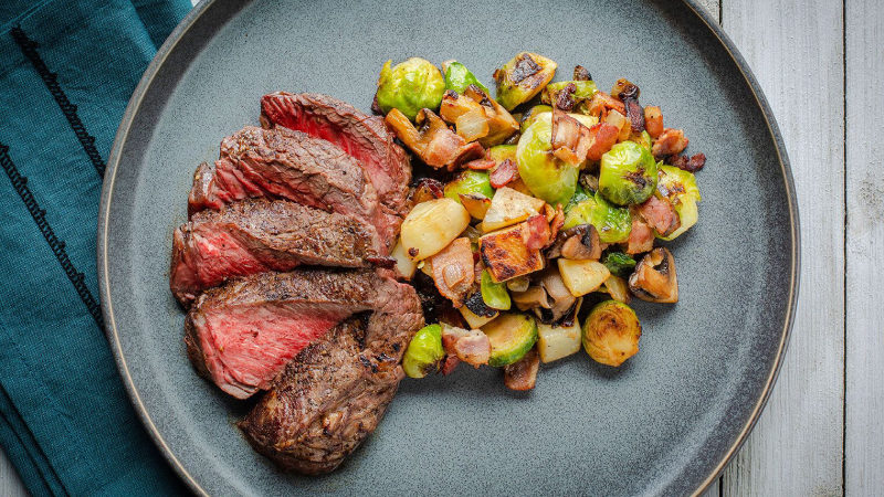 pan seared top sirloin steak with brussels sprouts