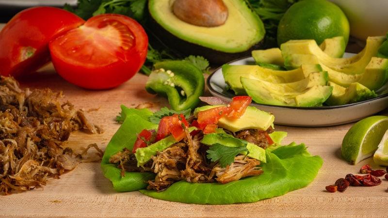 pork carnitas lettuce wrap taco