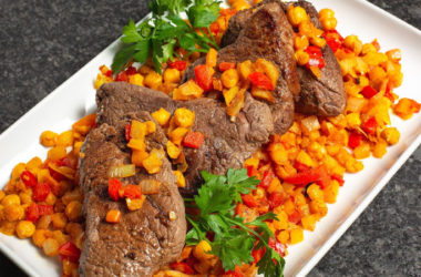 top sirloin steaks with cumin peppers and chickpeas