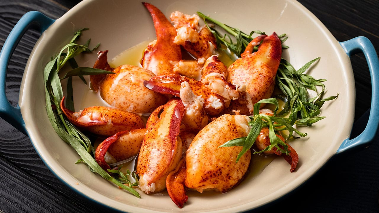 easy butter poached lobster