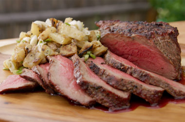 grilled tri tip with grilled potato salad
