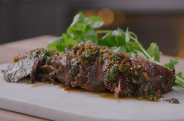 chimichurri coulotte steak picanha in cast iron