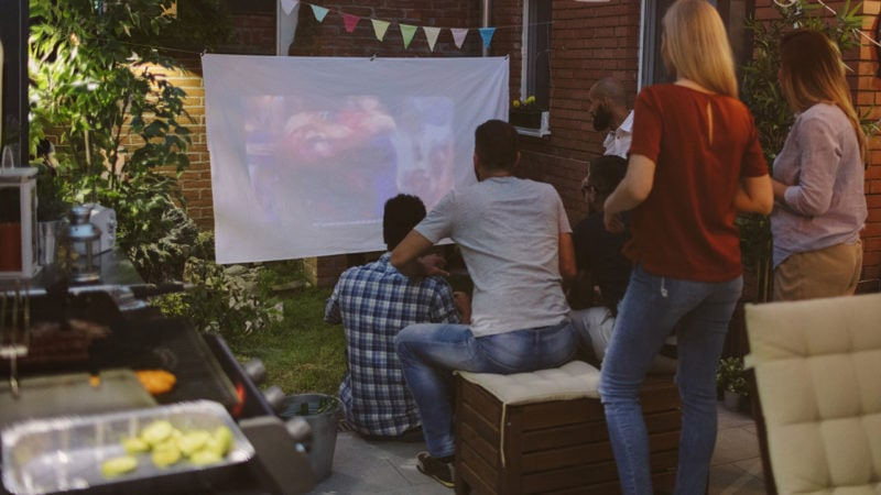 tailgating in the backyard on bigscreen