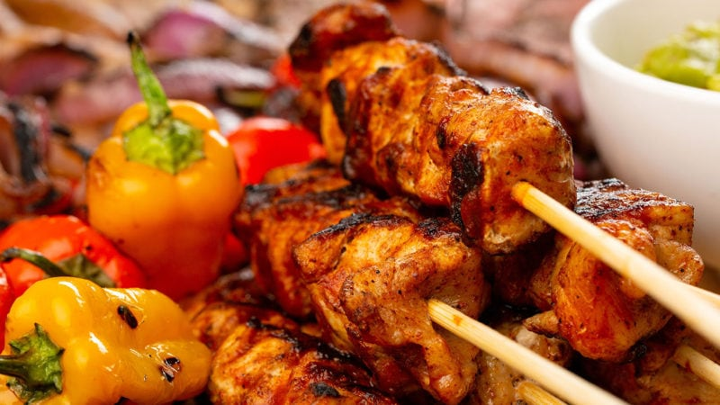 pork skewers with assorted peppers