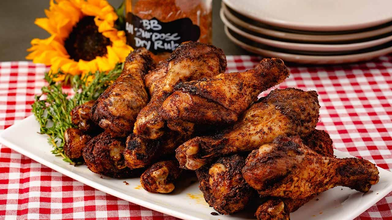 drumsticks with a dry rub